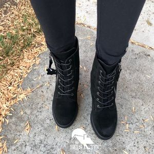 Shoes - Chunky Heel Genuine Suede Lace Up Combat Boots